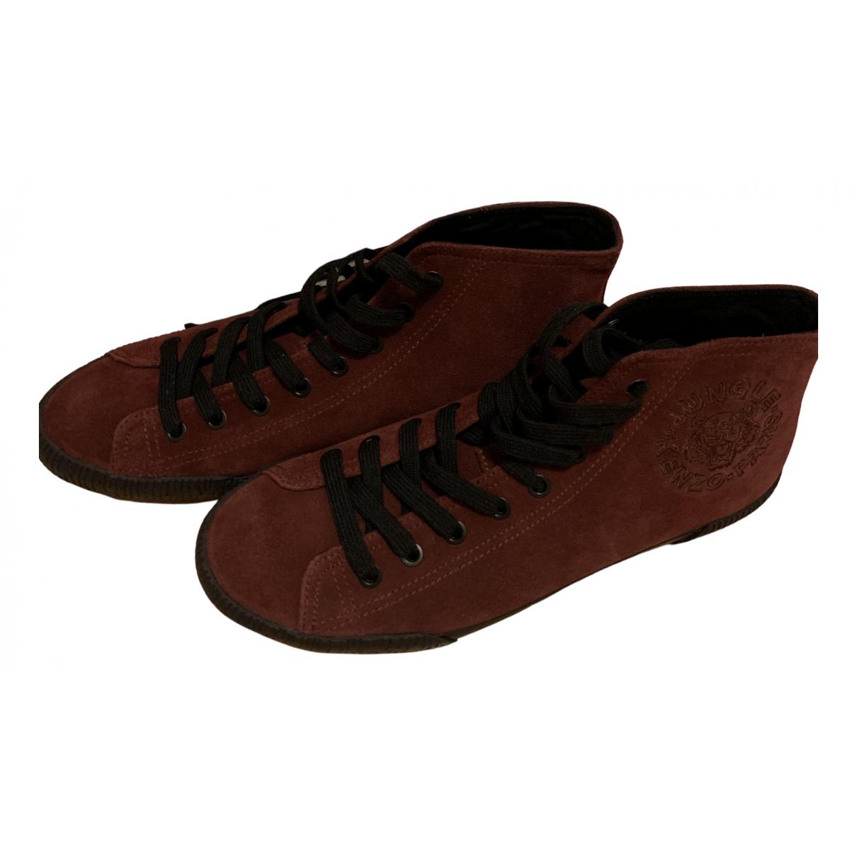 Kenzo \N Sneakers in  Bordeauxrot Veloursleder