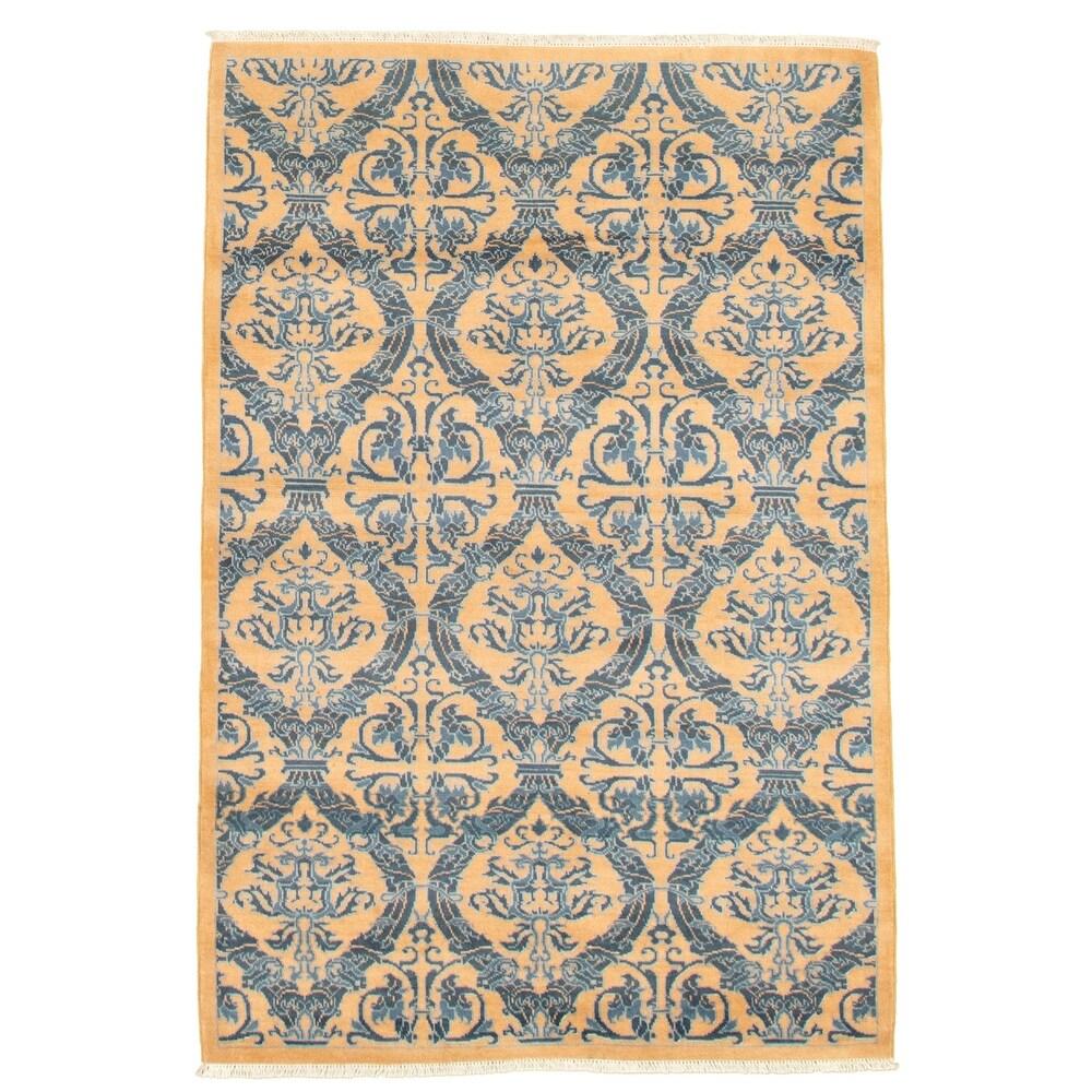 ECARPETGALLERY  Hand-knotted Pak Finest Tan Wool Rug - 4'1 x 6'0 (4'1 x 6'0 - Tan)