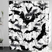 Halloween Bat Print Shower Curtain
