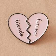 2pcs Letter Decor Half Heart Brooches