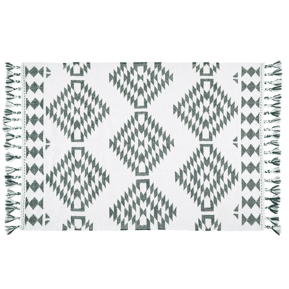 Teppich, ecrufarben mit gruenen Grafikmustern und Fransen 140x200