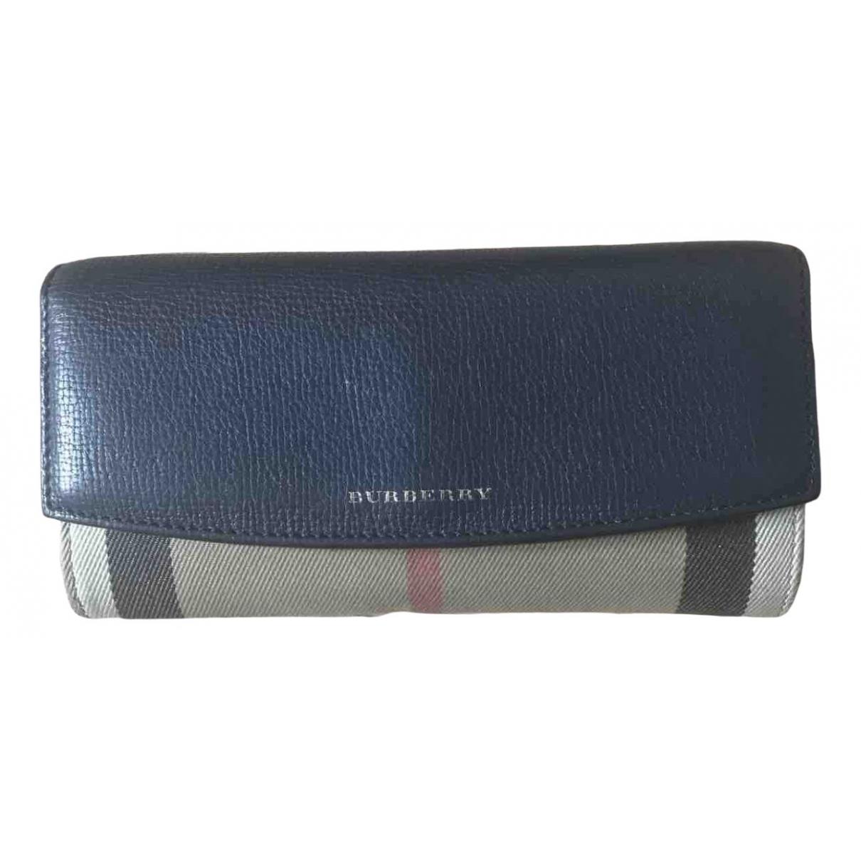 Burberry - Portefeuille   pour femme en cuir - bleu