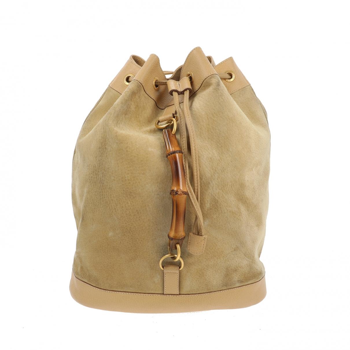 Gucci - Sac a dos   pour femme en suede - beige