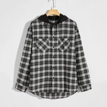Shirt mit Taschen Flicken und Karo Muster