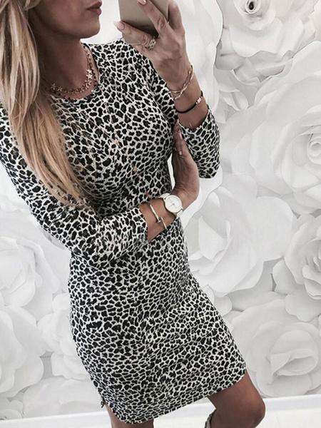 Milanoo Leopard Bodycon Dress Long Sleeve Round Neck Shaping Mini Dress
