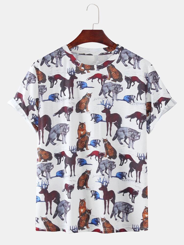 Mens Multicolor Fox Animal Print Casual Round Neck Short Sleeve T-Shirts