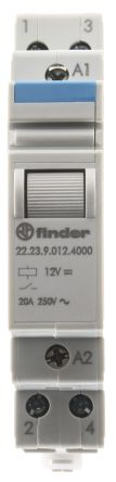 Finder , 12V dc Coil Non-Latching Relay SPST-NC, SPST-NO, 20A Switching Current DIN Rail, 3 Pole