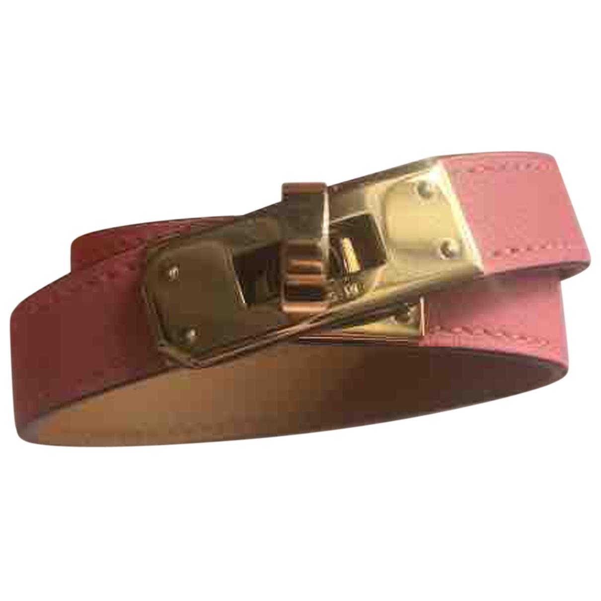 Hermès Kelly Double Tour Pink Leather bracelet for Women N