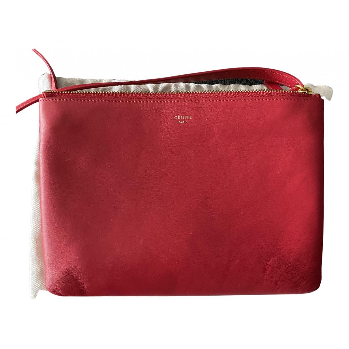 Celine Trio Handtasche in  Rot Leder