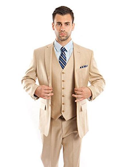 Mens Modern Fit 3 Piece Vested Light Beige Suits Flat Front Pants