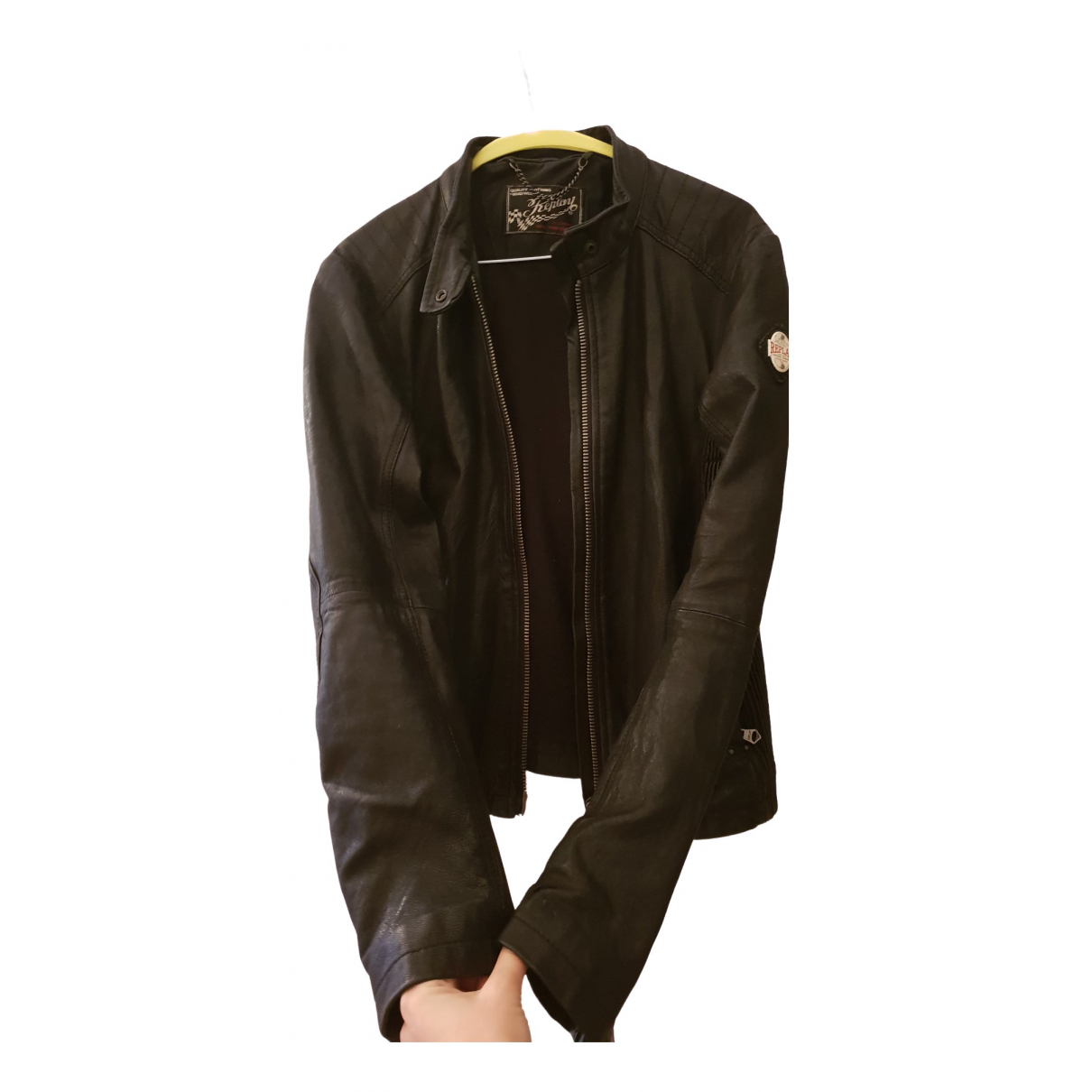 Replay \N Black Leather jacket for Women M International