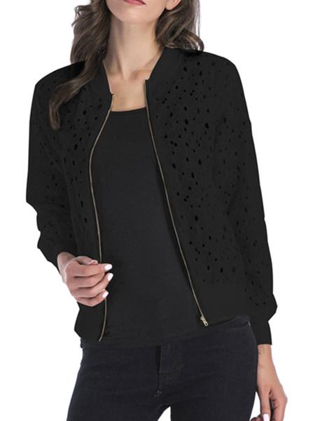 Milanoo Women Short Jackets Lace Jewel Neck Long Sleeve Lightweight Jacket For Women