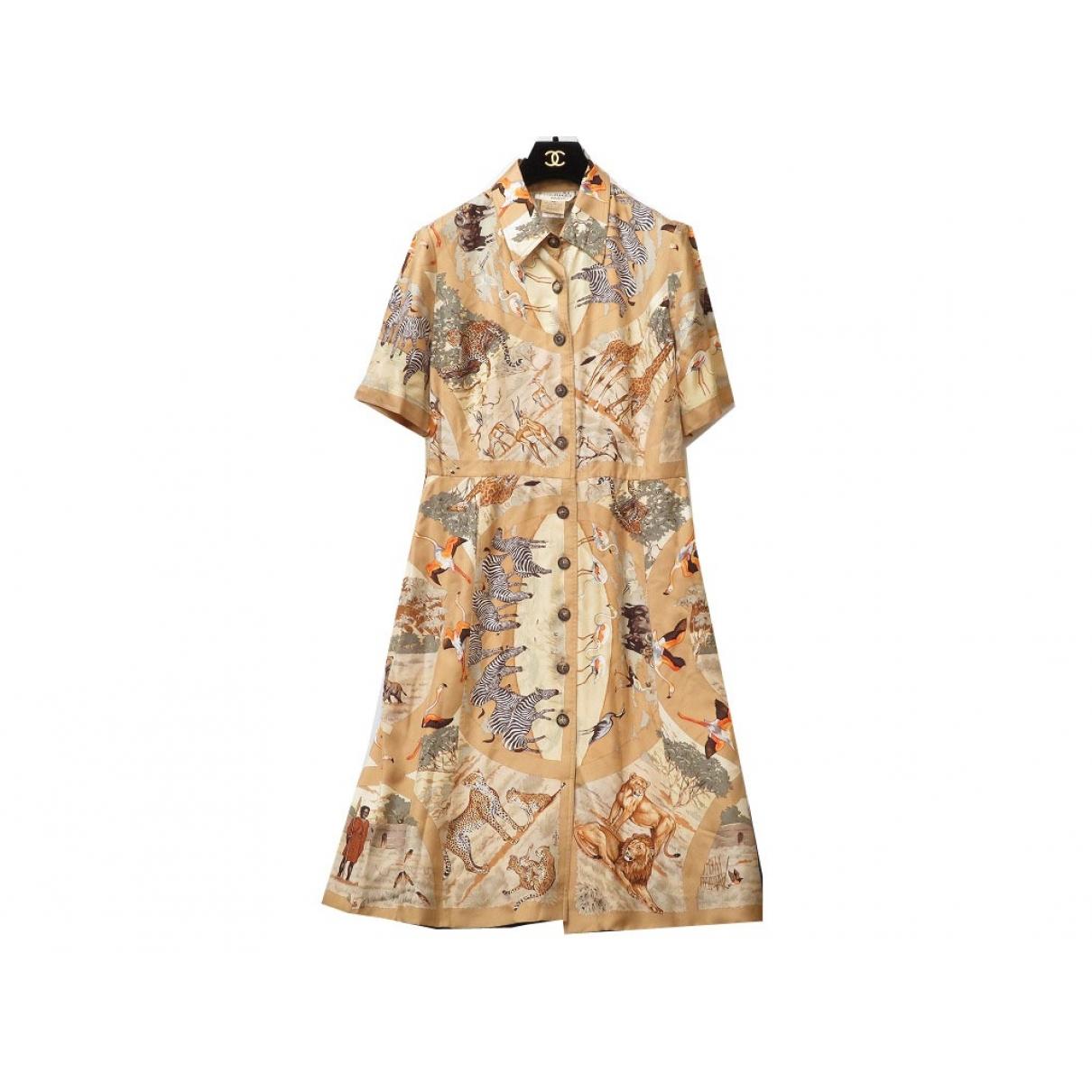 Hermes - Robe   pour femme en soie - marron