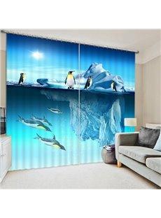 3D Iceberg and Penguins Printed Wonderful Scenery Decorative Custom Living Room Curtain