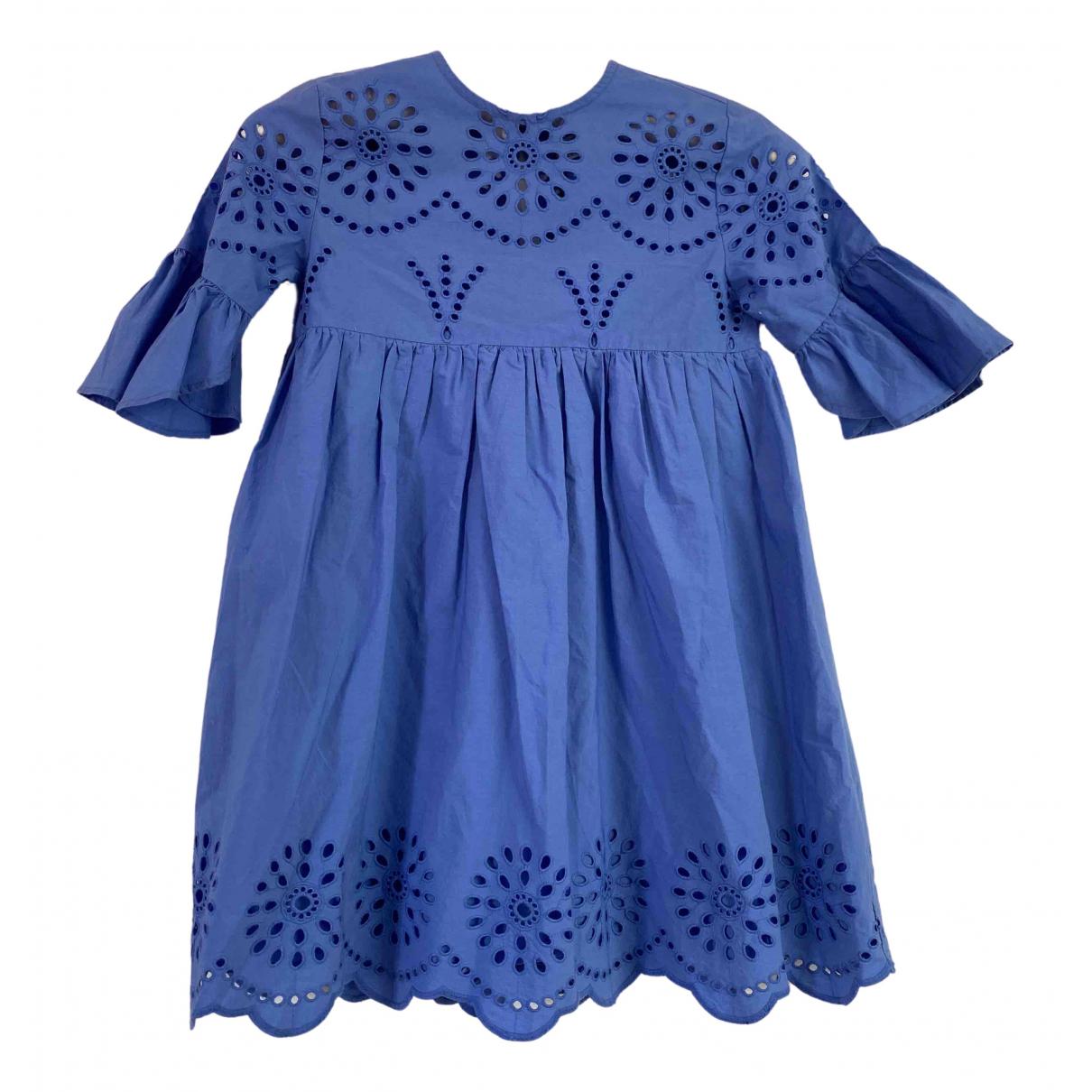 Zara - Robe    pour enfant en coton - bleu