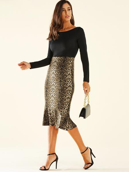 YOINS Black Patchwork Leopard Round Neck Long Sleeves Dress