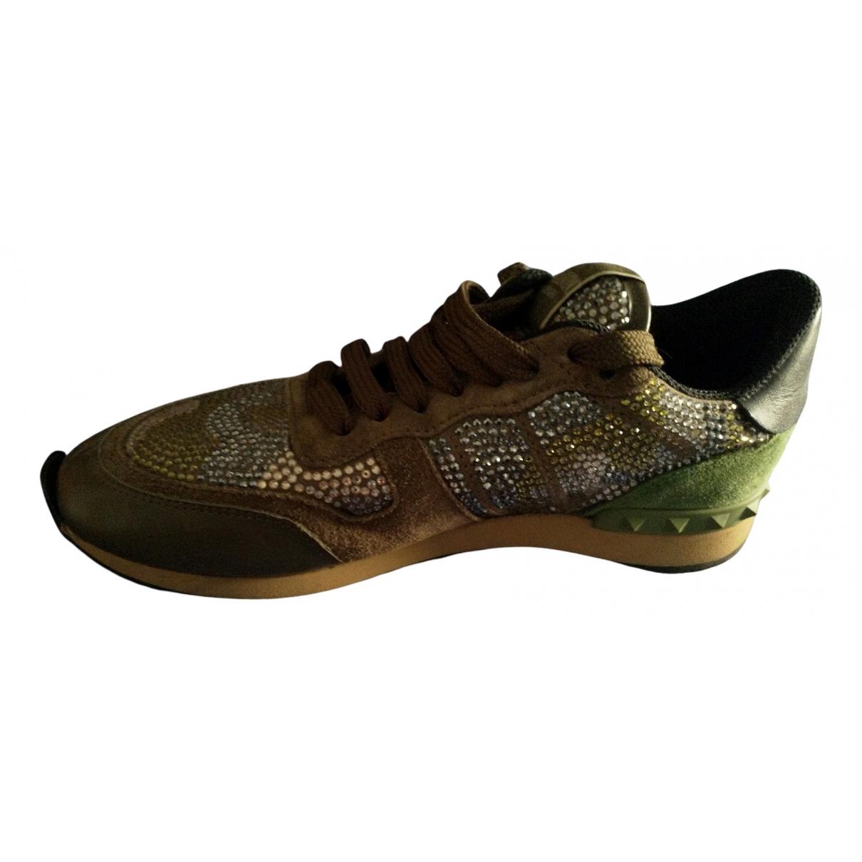 Valentino Garavani Rockrunner Sneakers in  Gruen Mit Pailletten