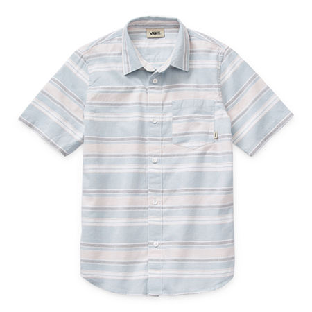 Vans Little & Big Boys Short Sleeve Button-Down Shirt, X-large , Blue