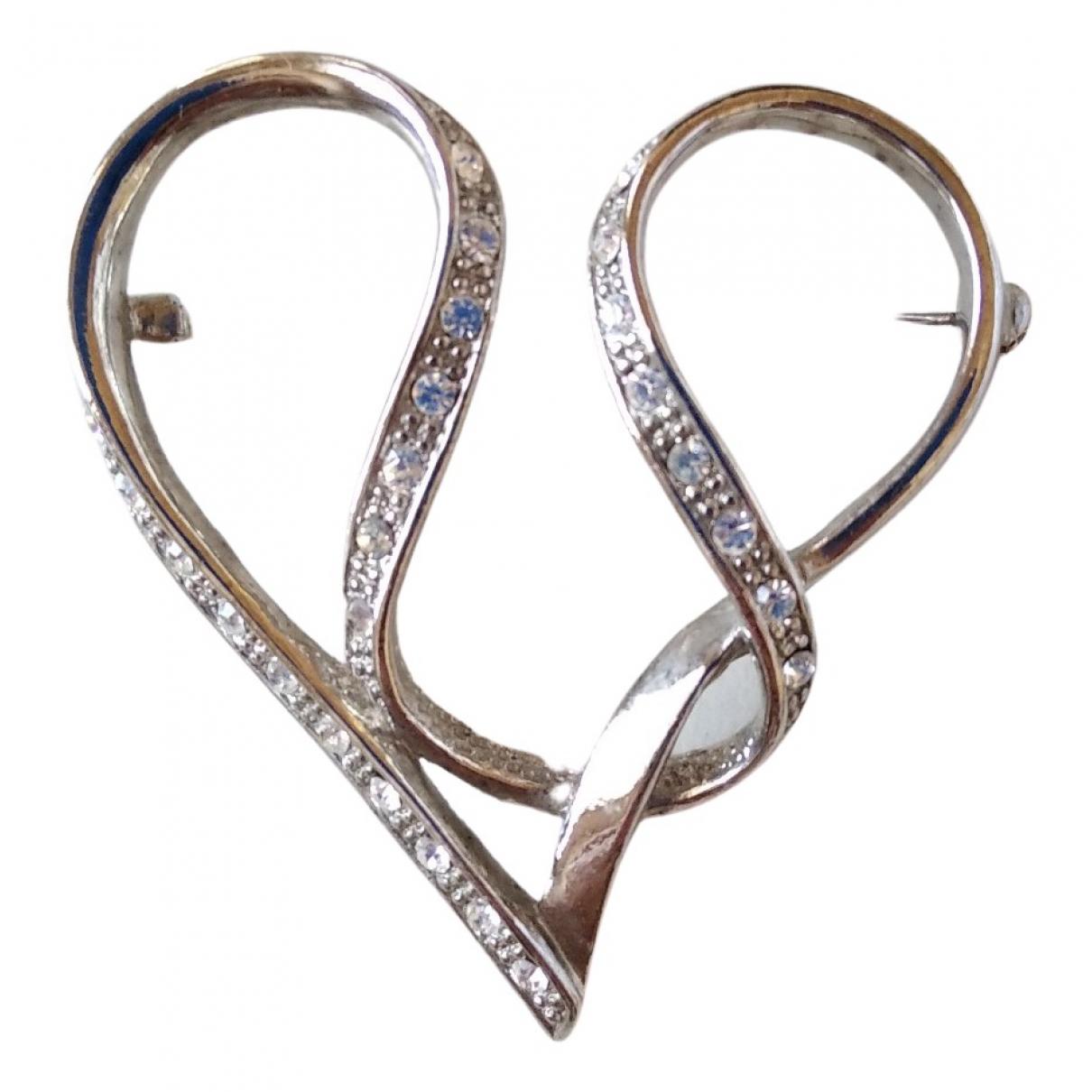 Non Signe / Unsigned Motifs Coeurs Brosche in  Silber Metall