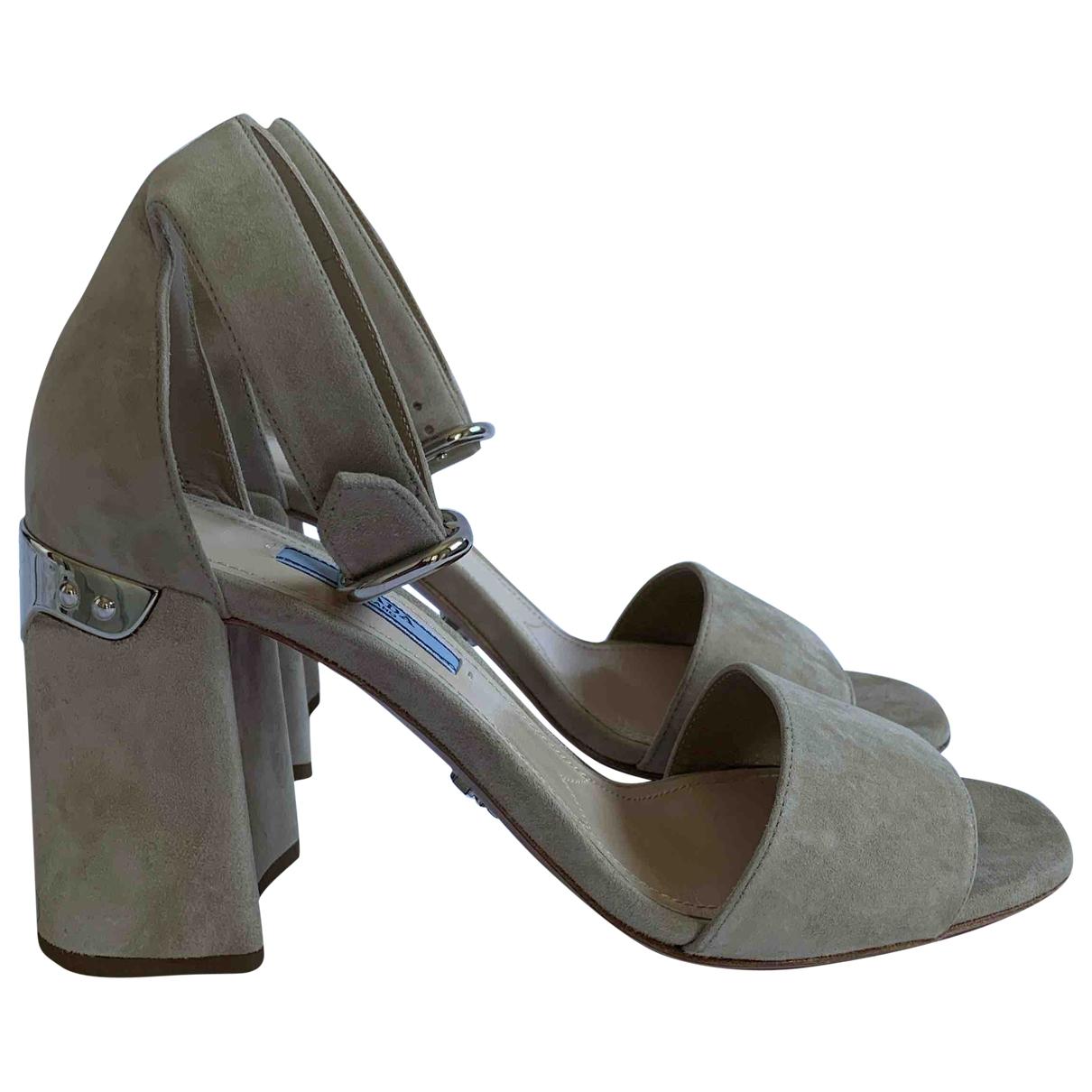 Prada - Sandales   pour femme en suede - ecru
