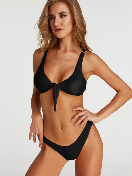 Yoins Tie-up Front Two-piece Bikinis Set in Black