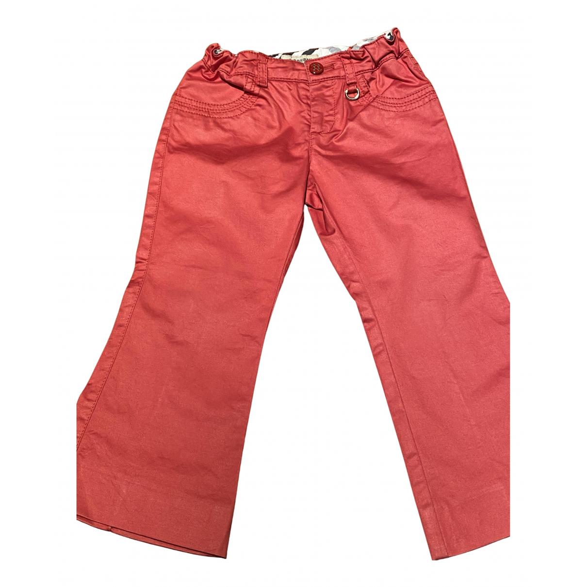 Burberry - Pantalon   pour enfant en coton - rouge