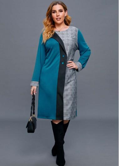 Plus Size Contrast Plaid Button Dress - 2X