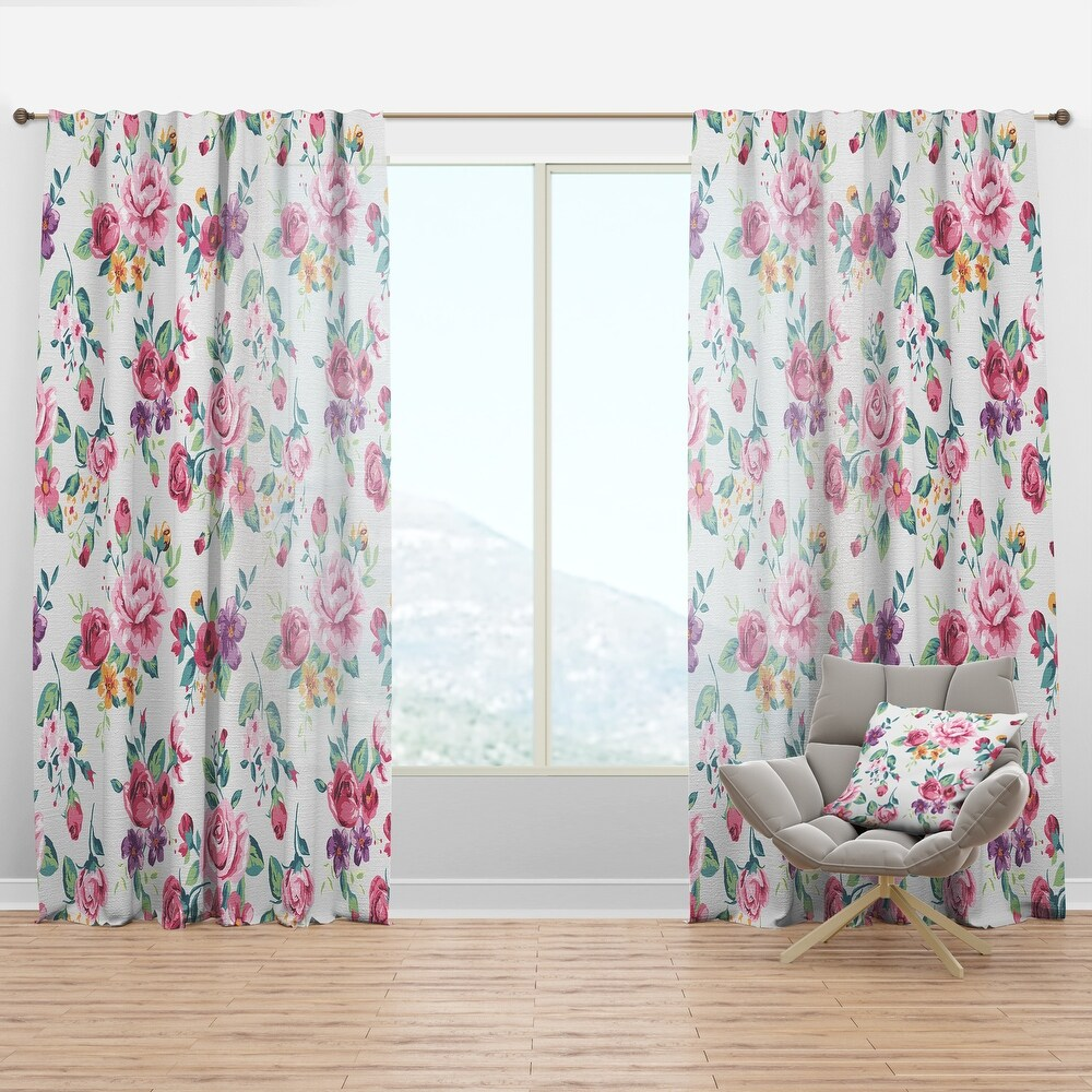Designart Pink , Purple and Yellow Flowrs Floral Curtain Panel (50 in. wide x 63 in. high - 1 Panel)