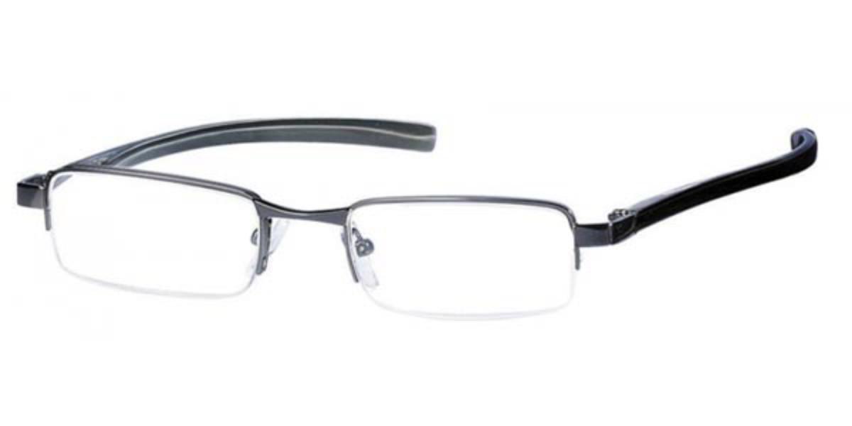 Rectangle Semi Rimless Metal Men's Glasses Discount Grey Size +3.00 - Free Lenses - HSA/FSA Insurance - Blue Light Block Available - SmartBuy Readers