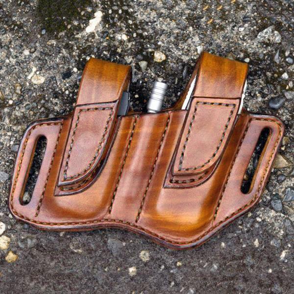 Men EDC Genuine Leather Retro Flashlight Waist Belt Bag