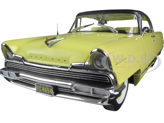 1956 Lincoln Premiere Hard Top Sunburst Yellow and Presidential Black Platinum Edition 1/18 Diecast Model Car by SunStar