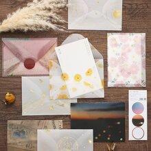 6 Stuecke Zufaelliger Umschlag mit gemischtem Muster & Aufkleber Set