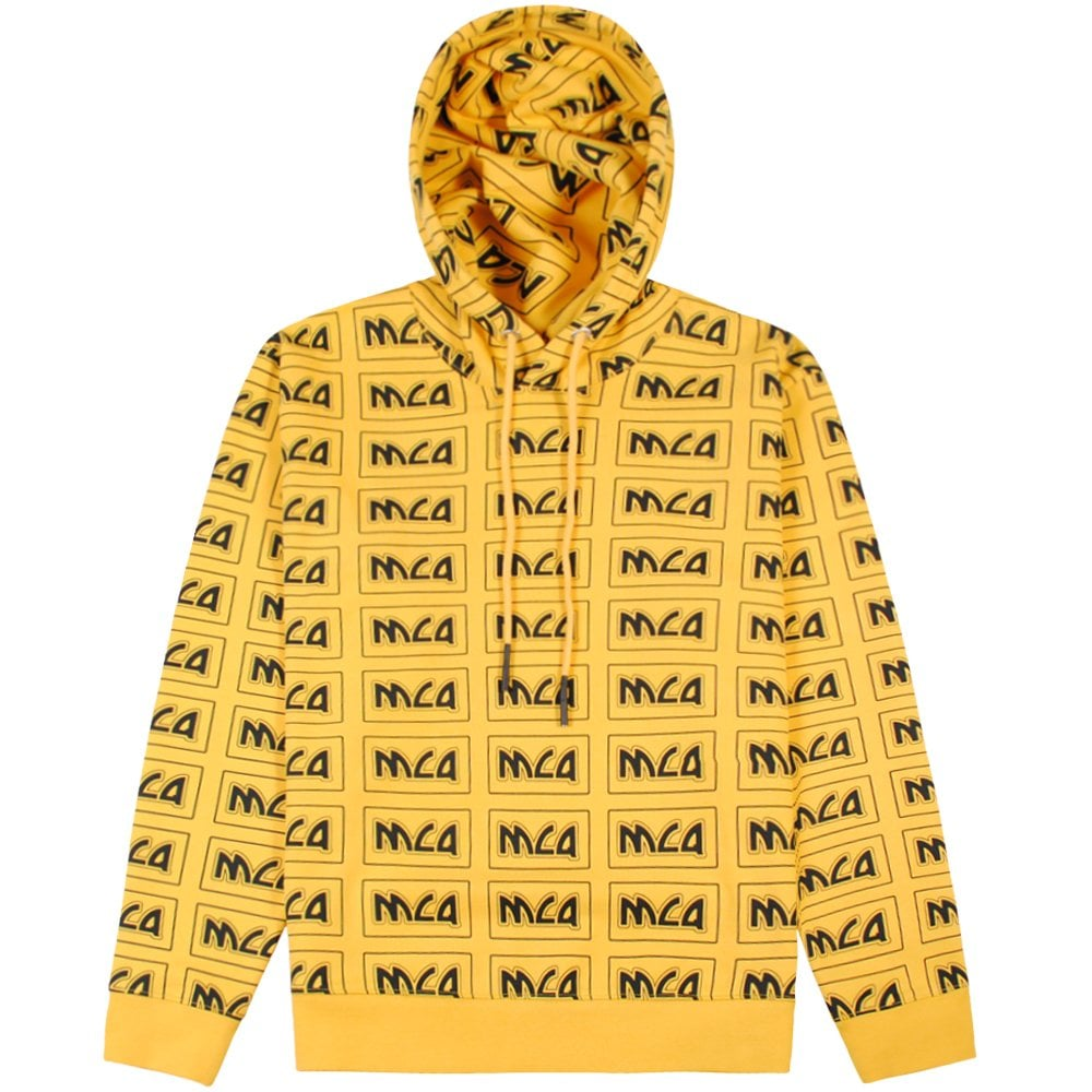 McQ Alexander McQueen All Over Logo Hoodie Yellow Colour: YELLOW, Size: LARGE