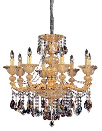 Mendelssohn 10498-016-FR000 8-Light Chandelier in Two Tone Gold - 24K Finish with Firenze Mixed