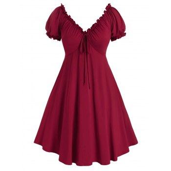 Plus Size Ruffle Puff Sleeve Mesh Edge Dress