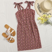 Knot Straps Ruched Bust Ditsy Floral Dress