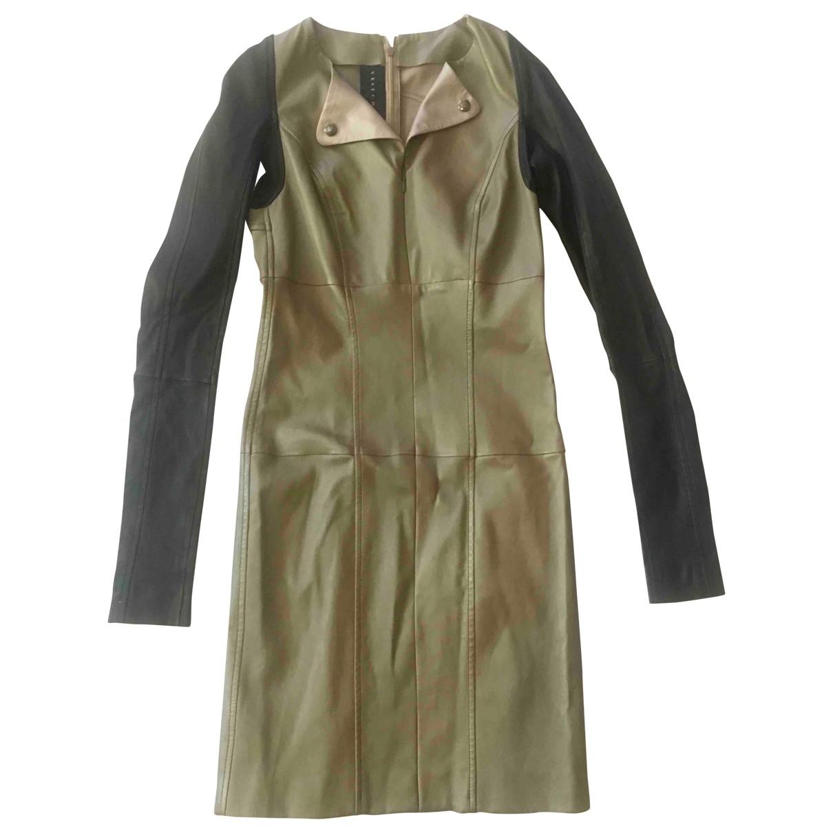 Ventcouvert - Robe   pour femme en cuir - beige