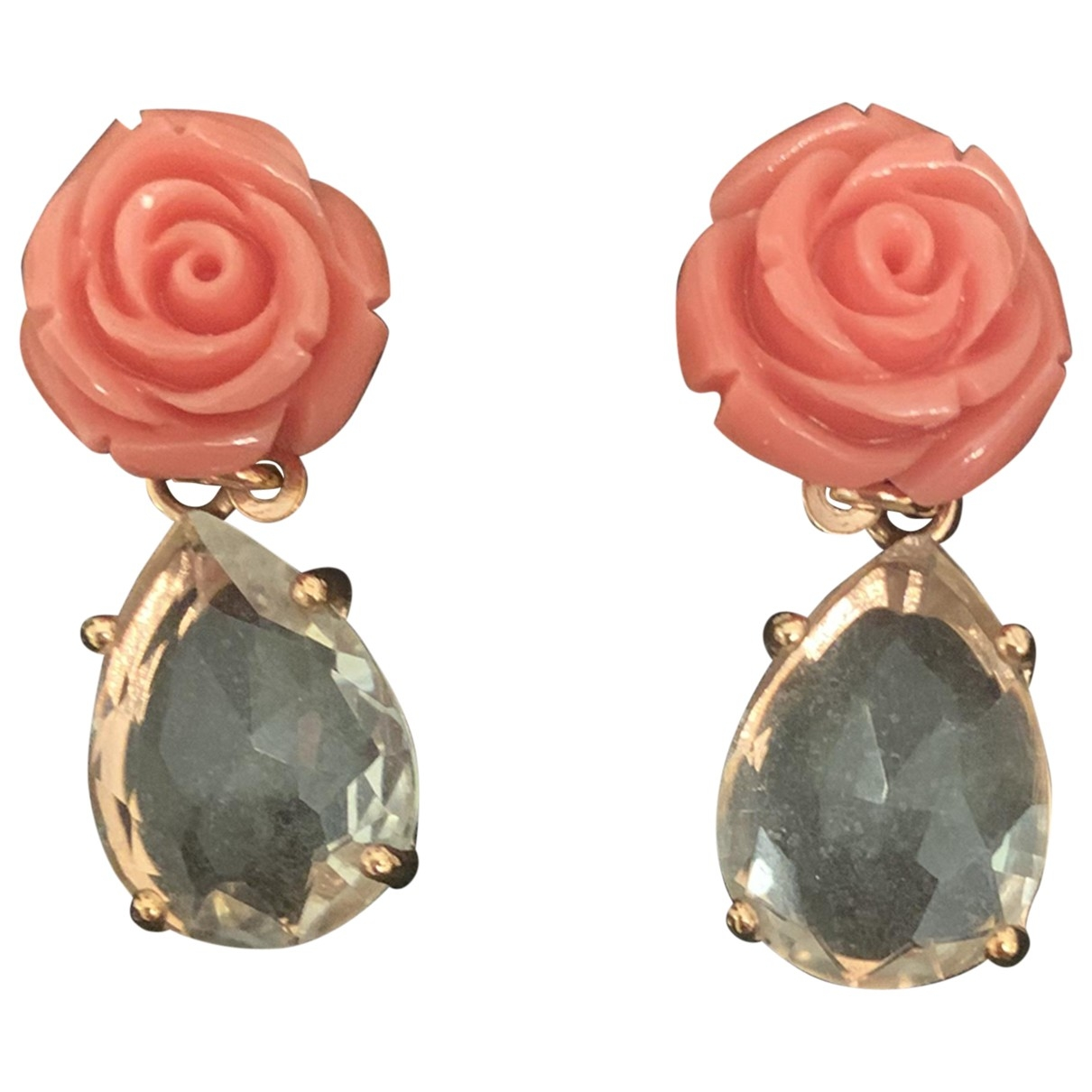 Non Signe / Unsigned Motifs Floraux OhrRing in  Rosa Metall