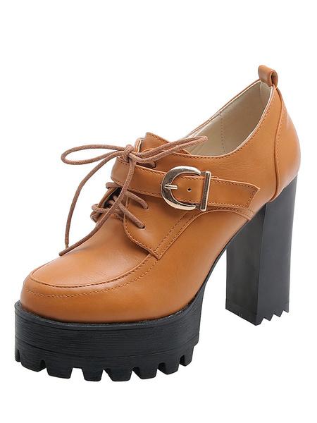 Milanoo Women\\s Platform High Heel Oxfords Round Toe Chunky Heel Lace Up Shoes
