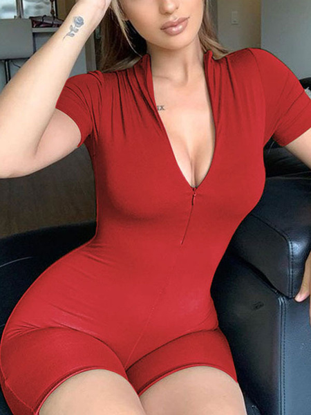 Milanoo Red Womem\'s PlaySuit V-Neck Short Sleeves Zipper Layered Cotton Skinny Summer Playsuit