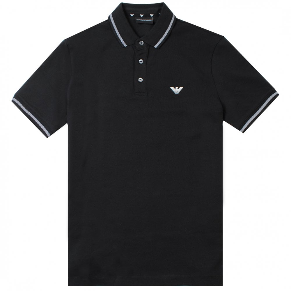 Emporio Armani Mercerised Polo Colour: BLACK, Size: LARGE