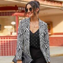 Zebra Print Lapel Collar Open Front Blazer