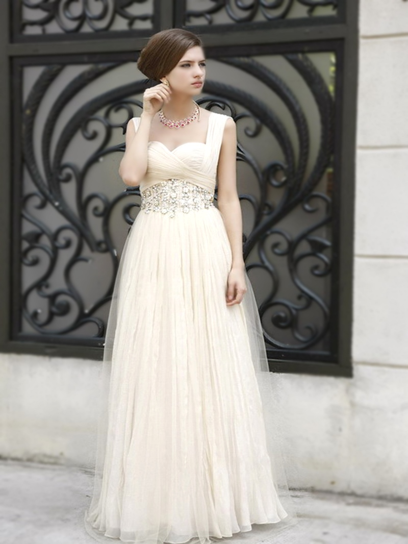 Ericdress Wonderful Gem Decorated Floor-Length High-Waist Prom Dress