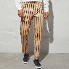 Pantalones de rayas de cintura con boton con cadena
