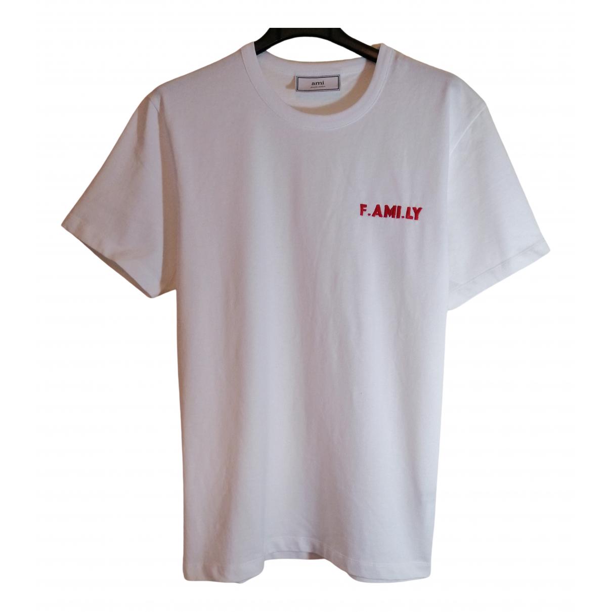 Ami - Tee shirts   pour homme en coton - blanc