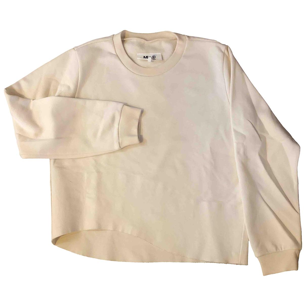 Mm6 - Pull   pour femme en coton - ecru