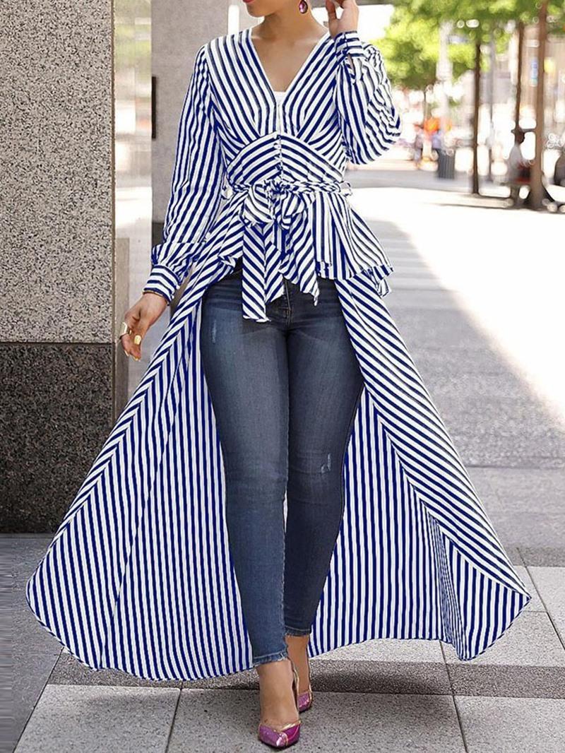 Ericdress Suspenders V-Neck Stripe Long Blouse