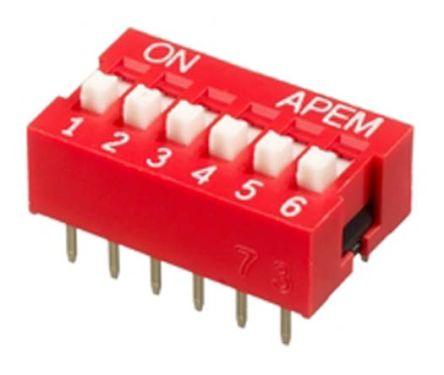 APEM 6 Way Through Hole DIP Switch 6PST, Recessed Actuator (5)