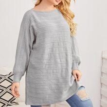 Plus Solid Batwing Sleeve Longline Sweater