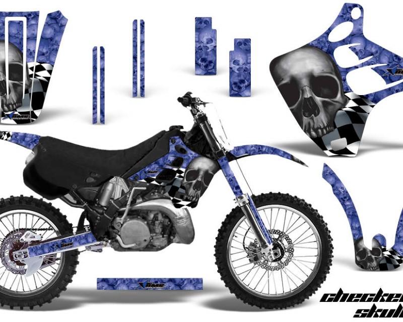 AMR Racing Dirt Bike Graphics Kit Decal Wrap For Kawasaki KX125   KX250 1990-1991áCHECKERED BLACK BLUE